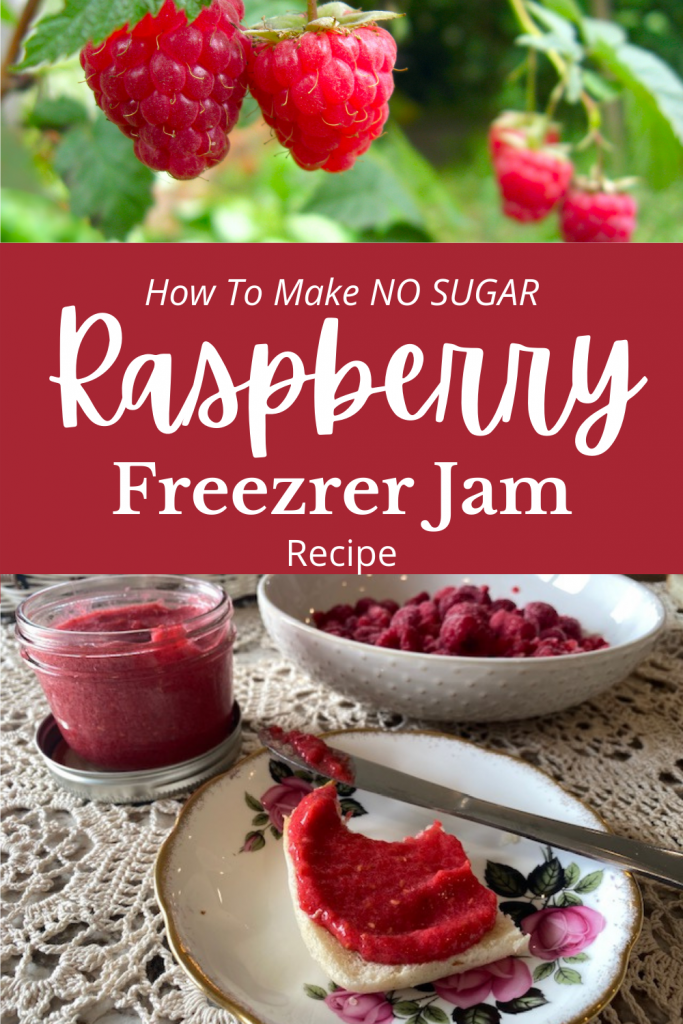 raspberries on the vine text and toast with jam and a knife