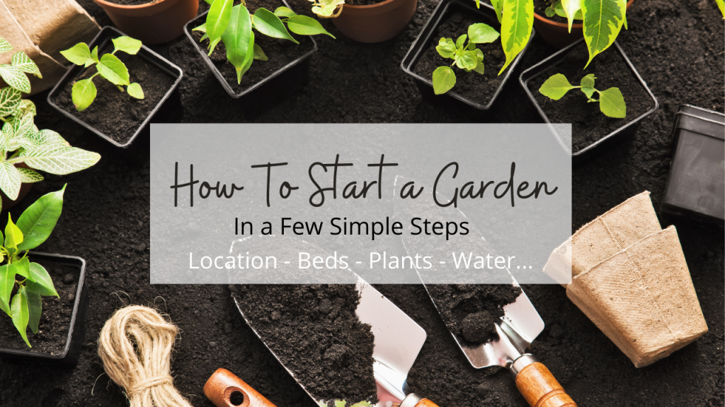 garden tools dirt and plants to start a garden with words
