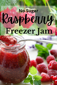 raspberries hanging on vine with text nd a jar and spoon with jam