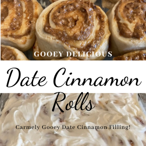 filled date cinnamon rolls text frosting