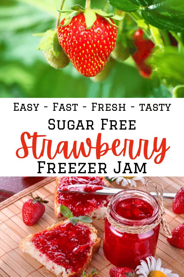 strawberry freezer jam on taost and in jar