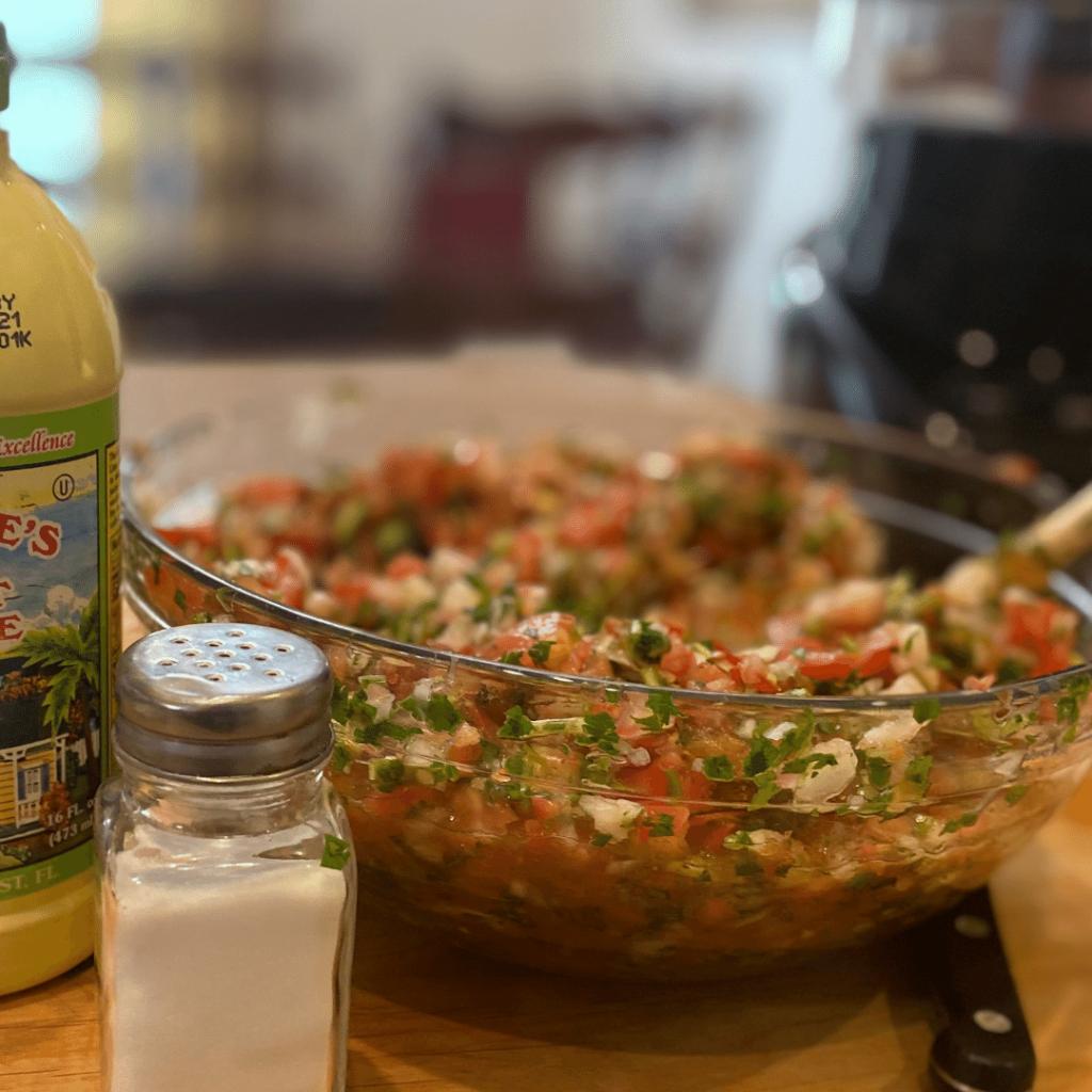 pico de  gallo in bowl salt juice