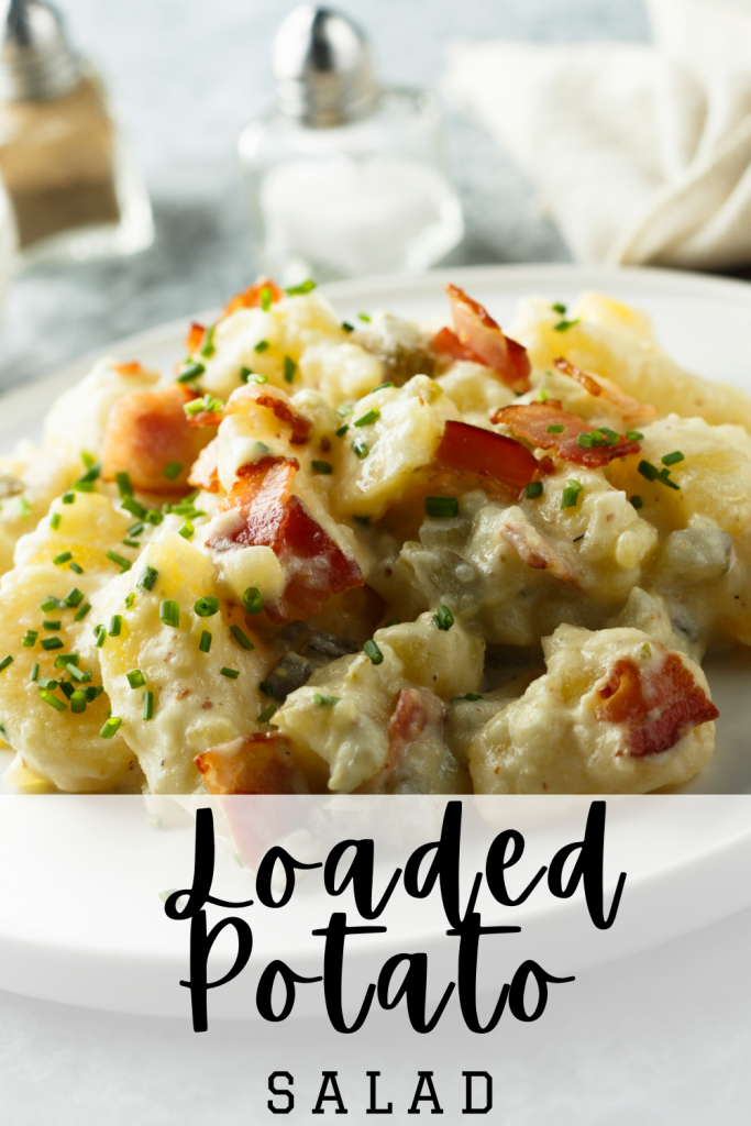 Potato salad loaded with bacon chives onion