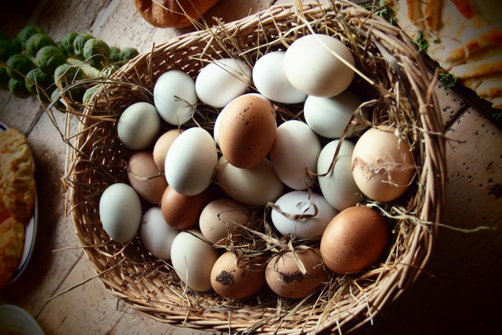 fresh chicken eggs in basket