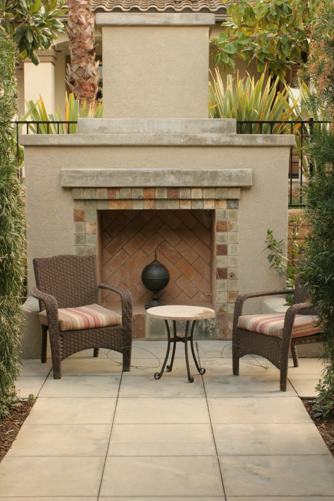 outside fireplace and seating