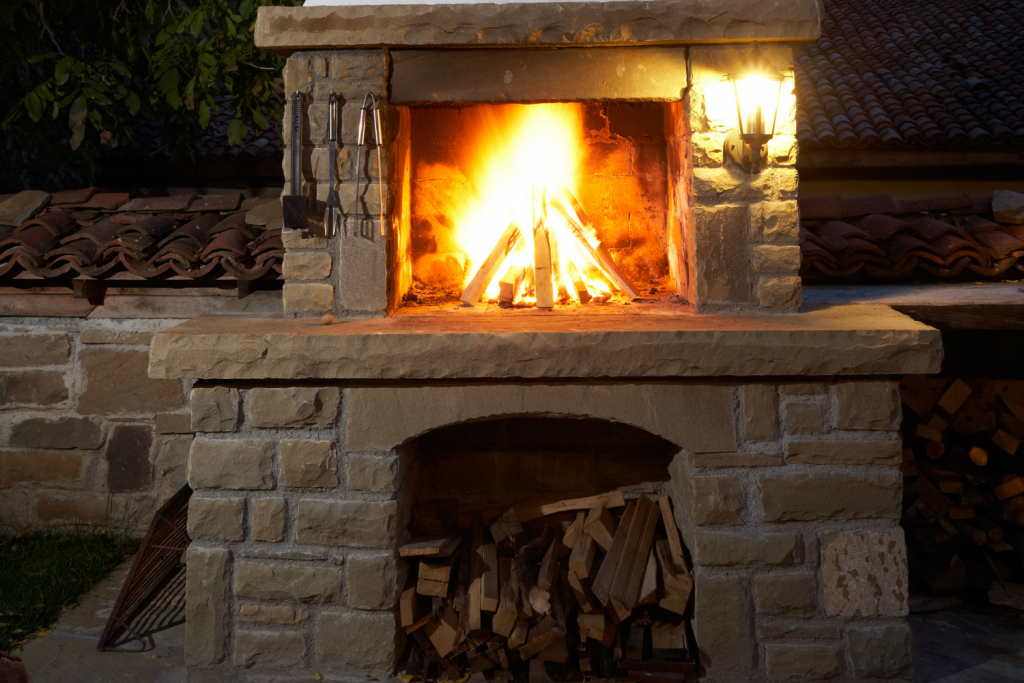 diy outdoor fireplace cooking with wood
