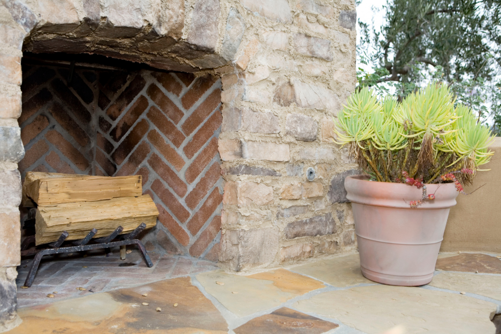 diy fireplace in rock and brick
