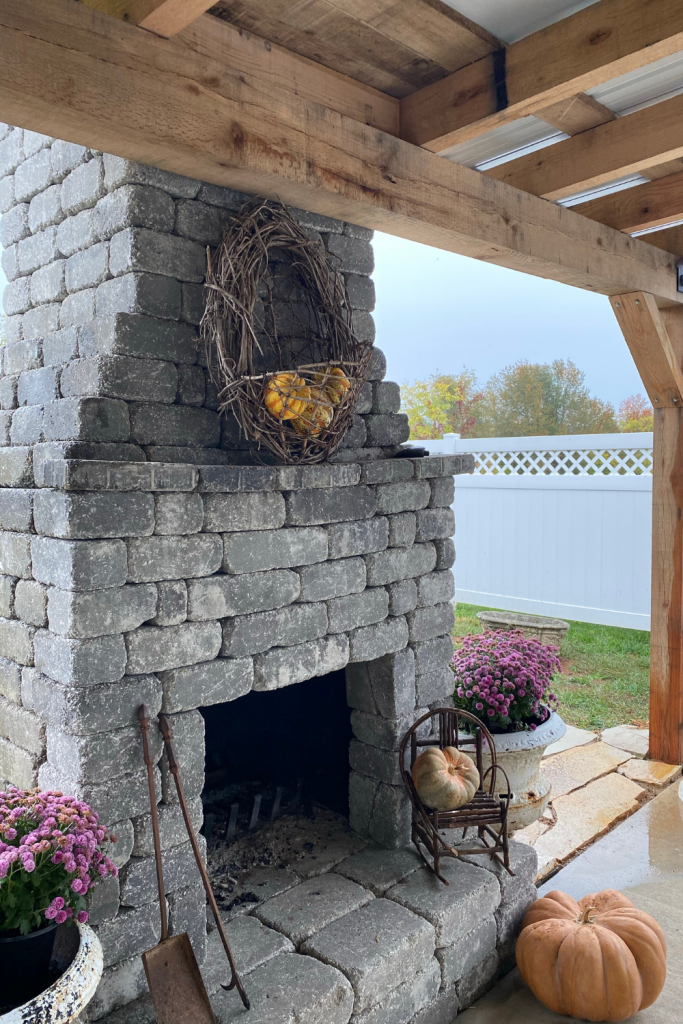 outdoor fireplace decorated