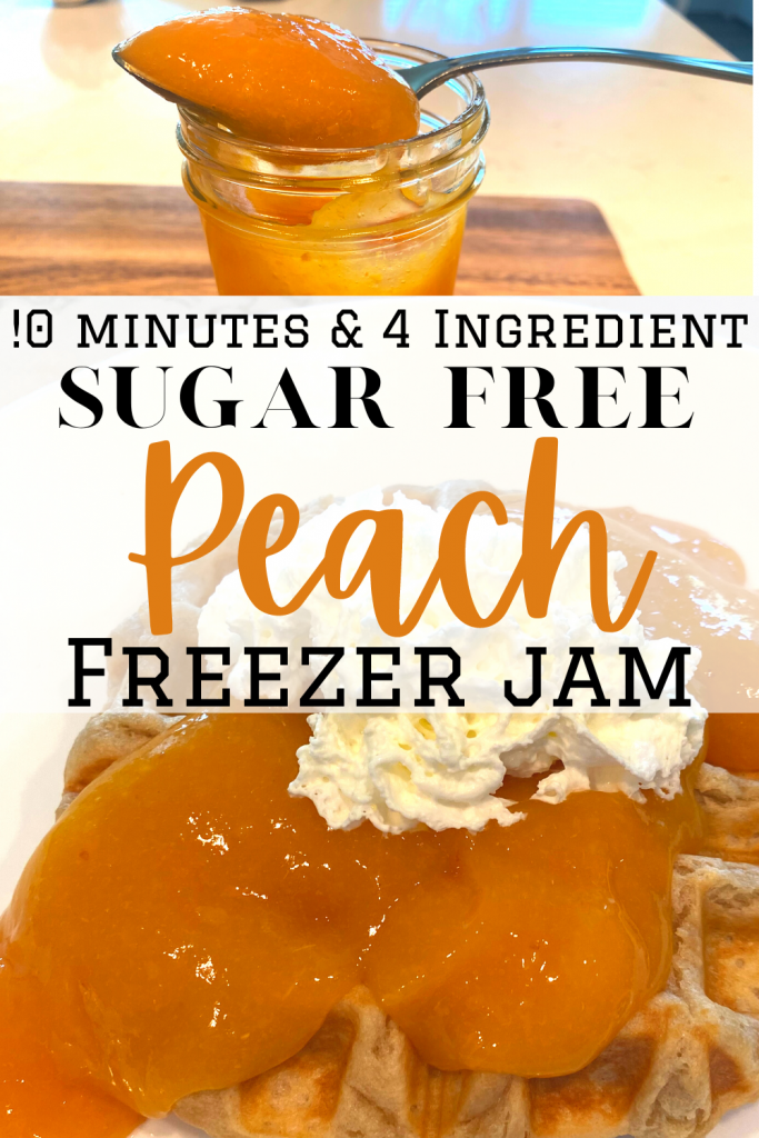 sugar free peach freezer jam in jar and on waffles with text