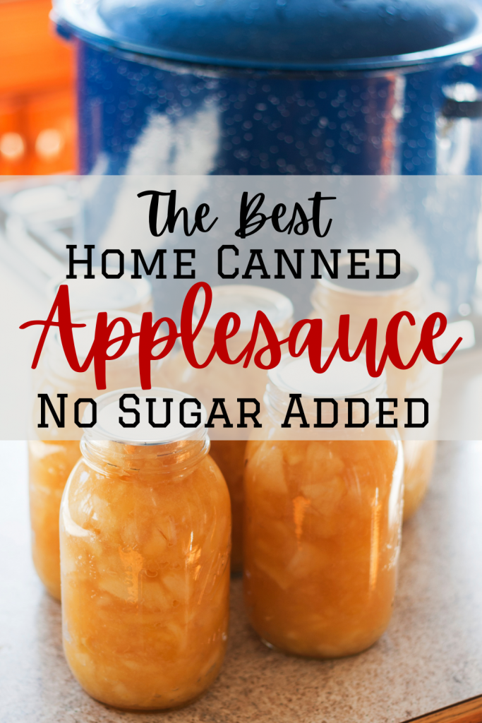 Applesauce in jars with home canning pot and text
