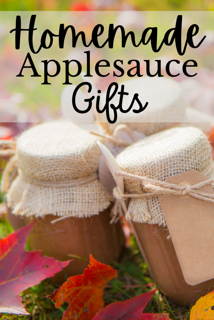 no sugar added applesauce in jars wrapped as gifts and text