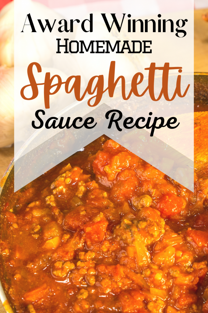 homemade spaghetti sauce with tomato sauce in pan and text