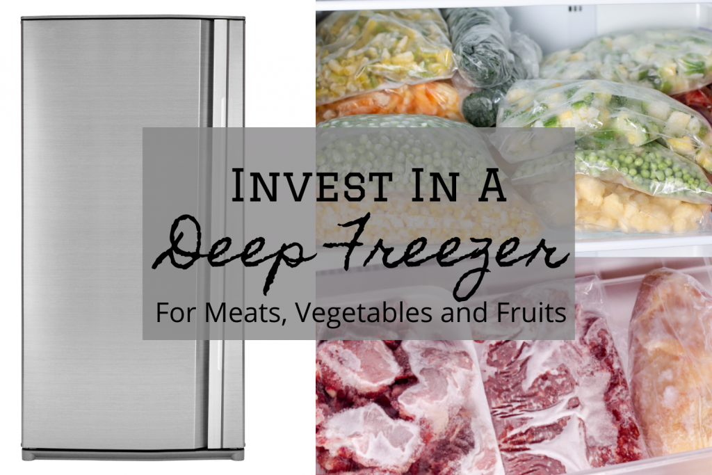 freezer, frozen meats, vegetables and fruits stored at home in freezer.