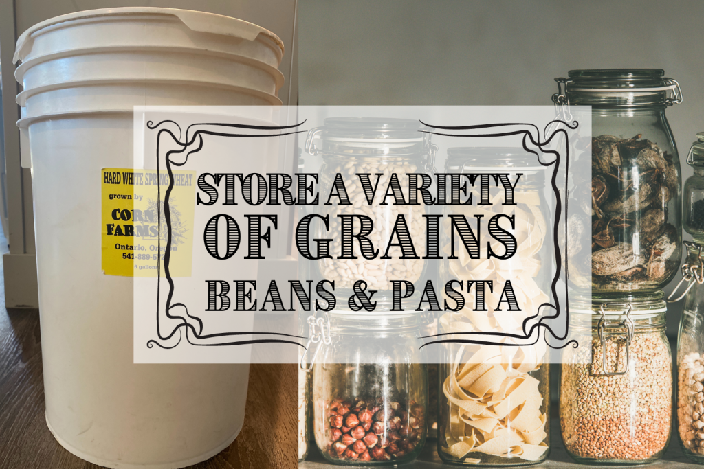 dried grains beans and pasta food storage on shelf at home and text