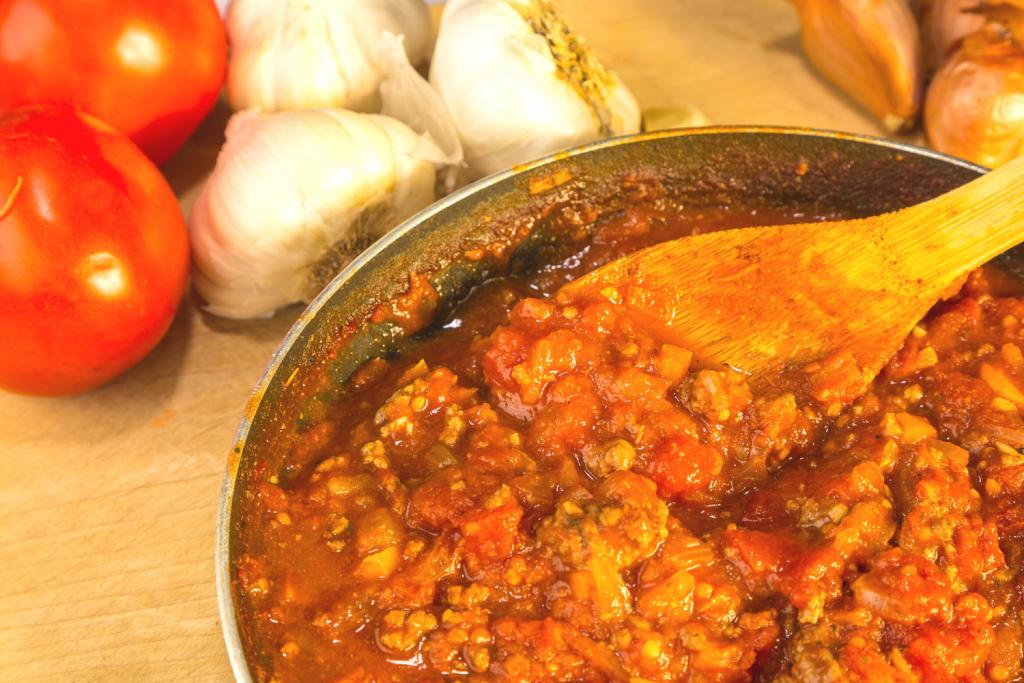 homemade spaghetti sauce with tomato sauce in pan
