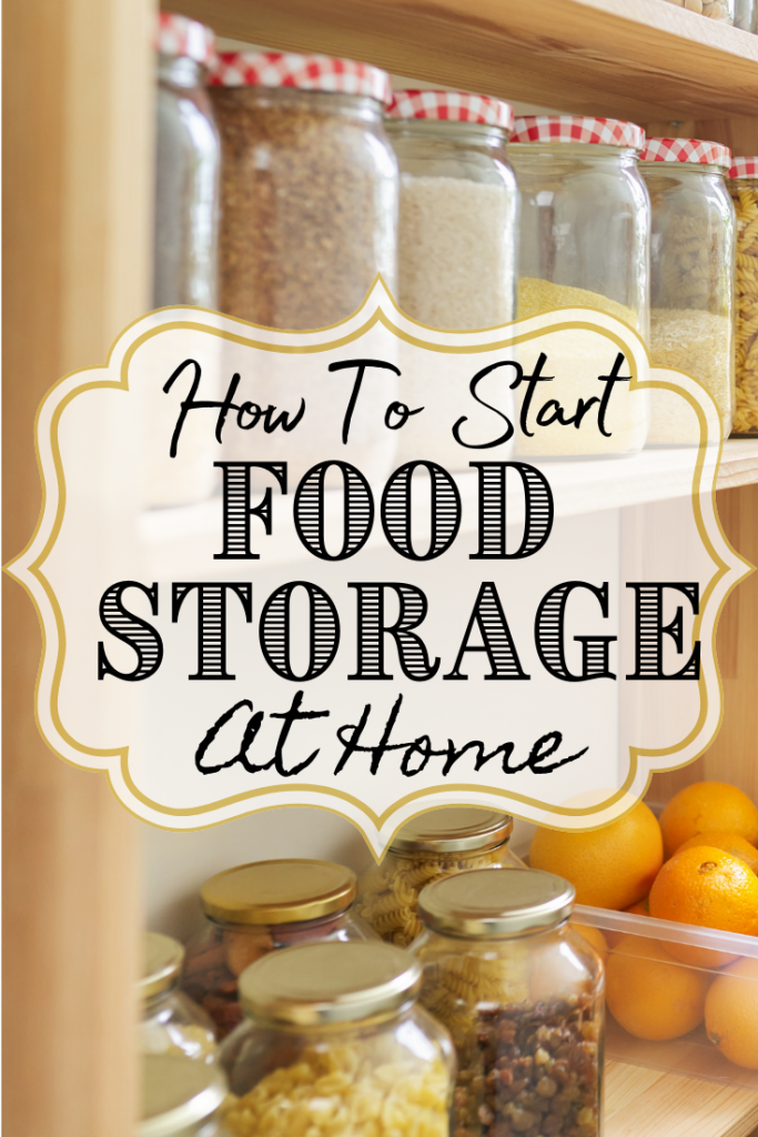 cans of food storage and text
