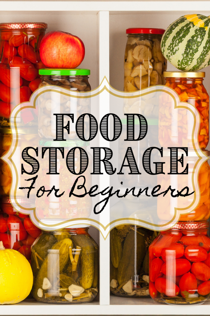 stored food on shelves at home with text
