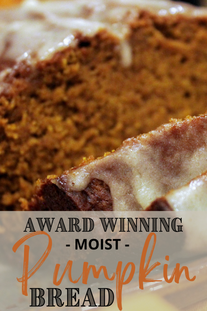 moist pumpkin bread sliced on plate with text