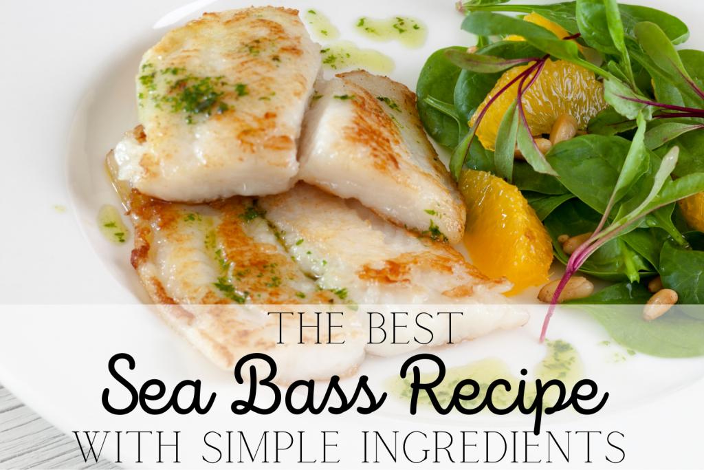 pan fried sea bass with pesto, salad and text