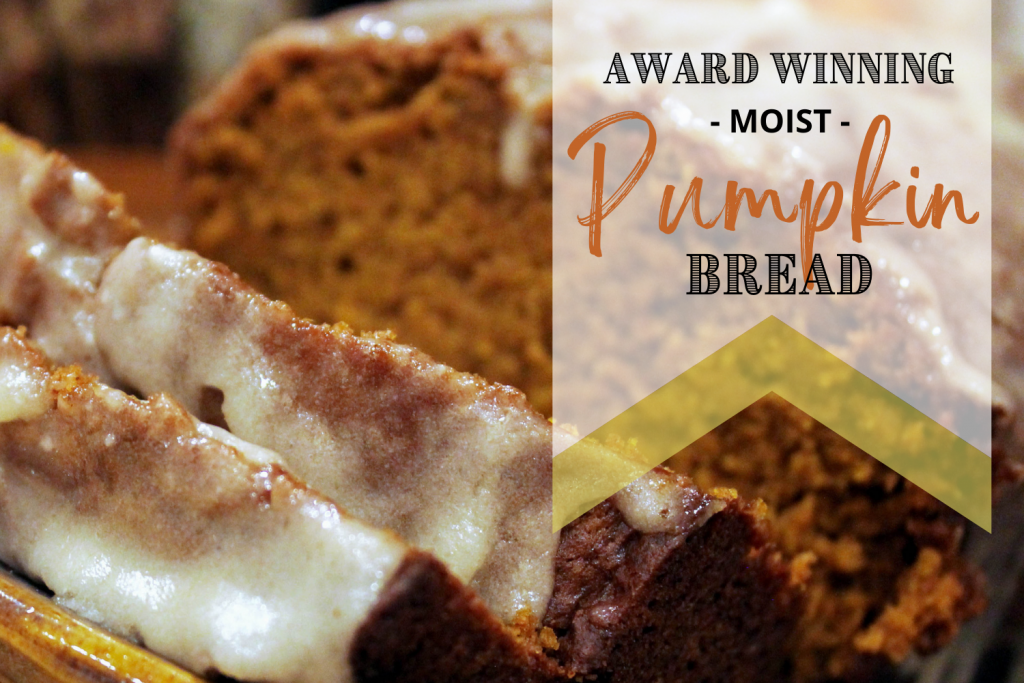 moist pumpkin bread on plate with text