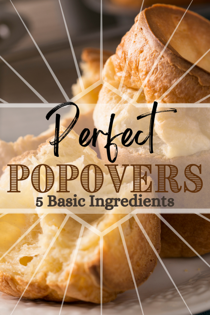 big fluffy popover on plate with text